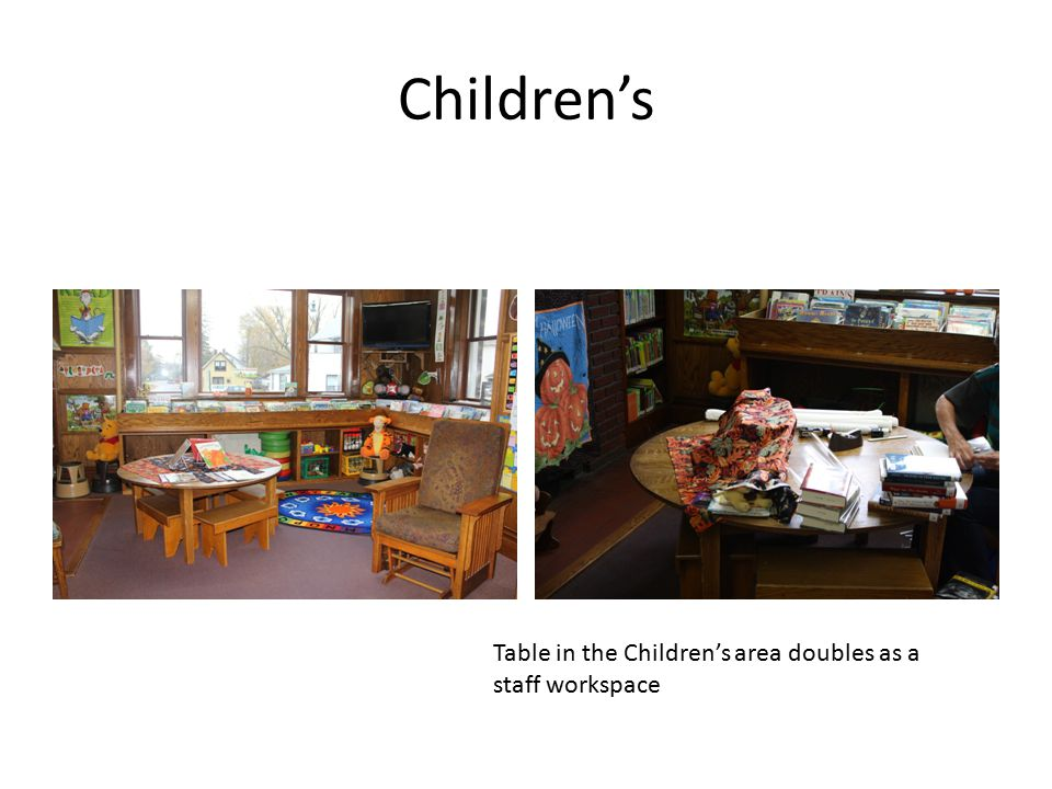 Children's Table in the Children's area doubles as a staff workspace
