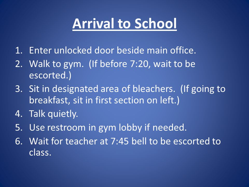 6 th Traditional Walker Cooper 8 th Traditional 7 th Traditional Students Wanting Breakfast Montessori 6 th Traditional Rowe White Gym Entrance Gym Restrooms
