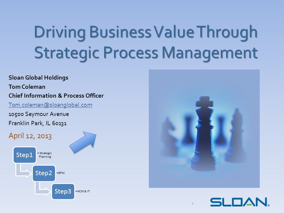 Driving Business Value Through Strategic Process Management Sloan Global Holdings Tom Coleman Chief Information & Process Officer Tom.coleman@sloanglo
