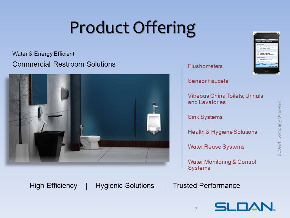 Product Offering 3 Flushometers Sensor Faucets Vitreous China Toilets, Urinals and Lavatories Sink Systems Health & Hygiene Solutions Water Reuse Syst