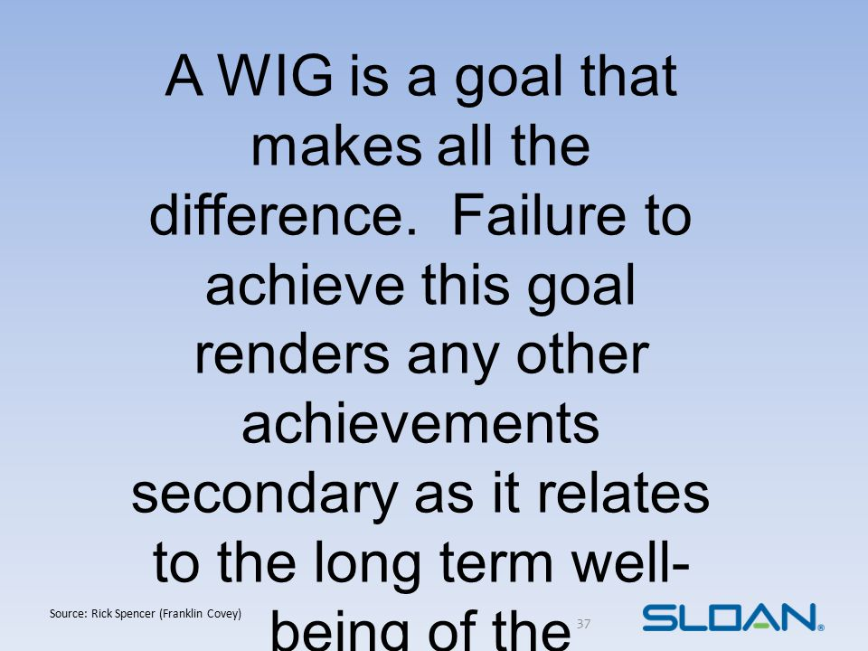 37 A WIG is a goal that makes all the difference. Failure to achieve this goal renders any other achievements secondary as it relates to the long term
