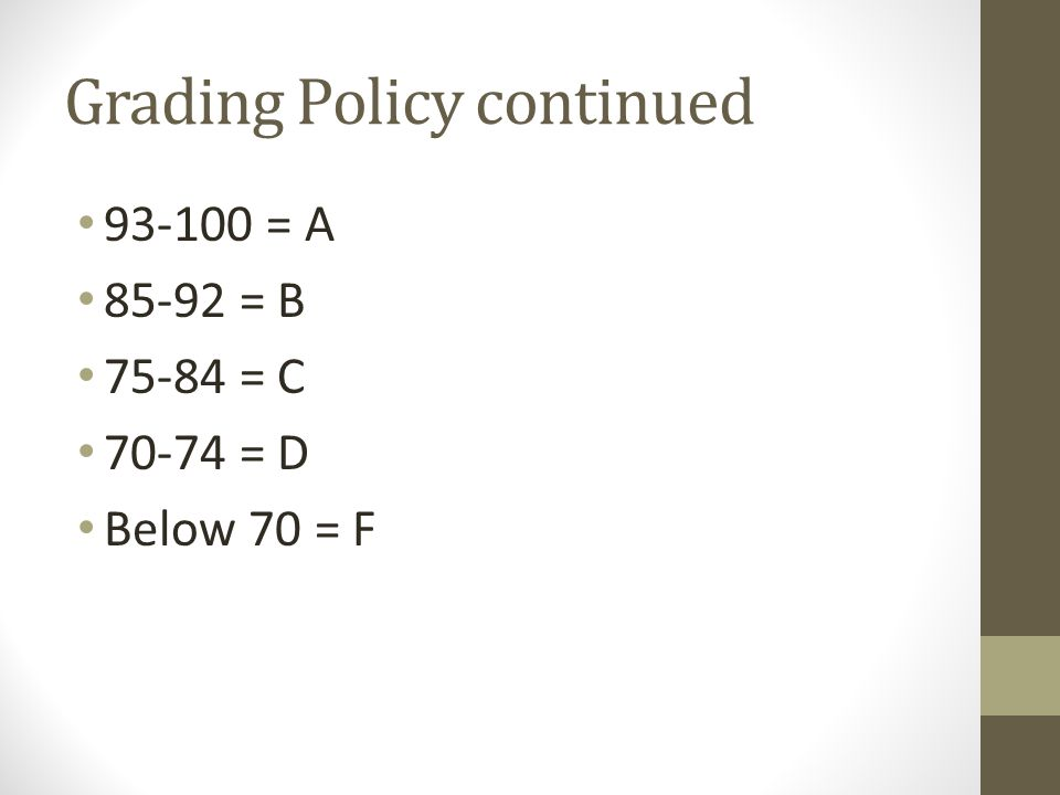 Grading Policy continued 93-100 = A 85-92 = B 75-84 = C 70-74 = D Below 70 = F