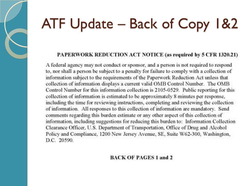ATF Update – Back of Copy 1&2