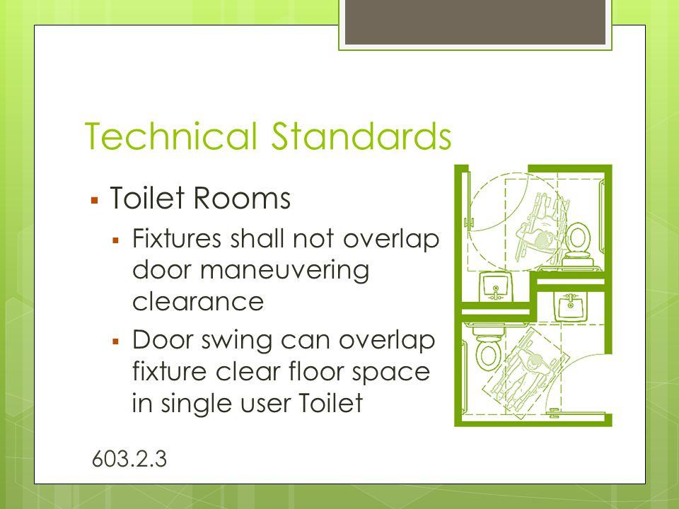 Technical Standards  Toilet Rooms  Fixtures shall not overlap door maneuvering clearance  Door swing can overlap fixture clear floor space in singl