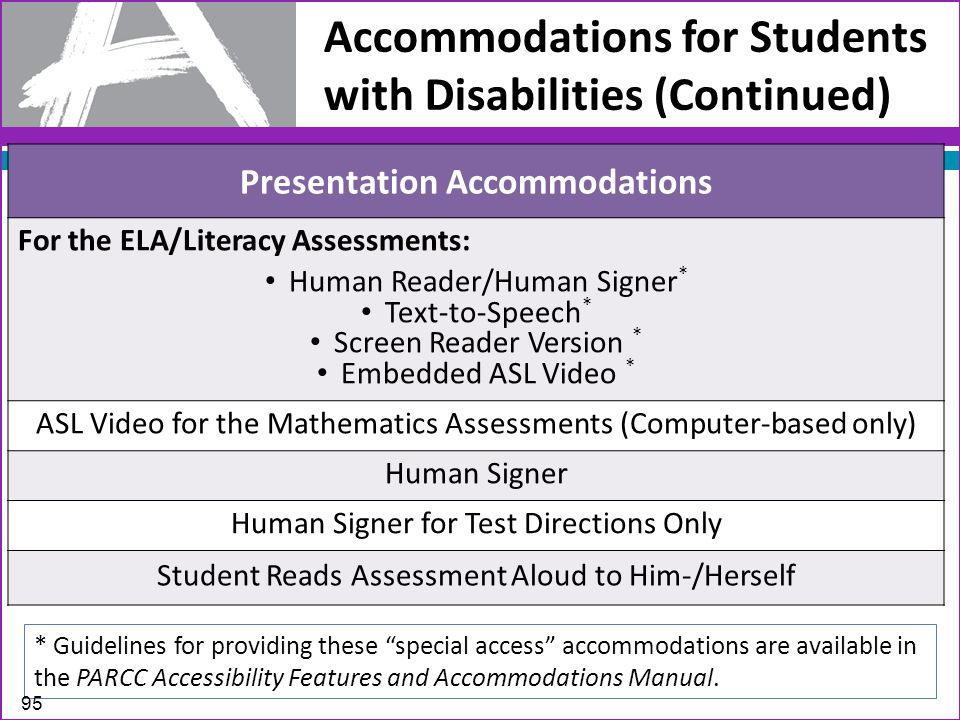 Accommodations for Students with Disabilities (Continued) Presentation Accommodations For the ELA/Literacy Assessments: Human Reader/Human Signer * Text-to-Speech * Screen Reader Version * Embedded ASL Video * ASL Video for the Mathematics Assessments (Computer-based only) Human Signer Human Signer for Test Directions Only Student Reads Assessment Aloud to Him-/Herself * Guidelines for providing these special access accommodations are available in the PARCC Accessibility Features and Accommodations Manual.