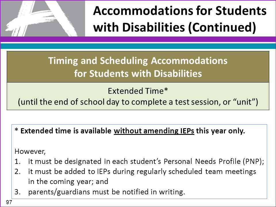 Timing and Scheduling Accommodations for Students with Disabilities Extended Time* (until the end of school day to complete a test session, or unit ) Accommodations for Students with Disabilities (Continued) * Extended time is available without amending IEPs this year only.