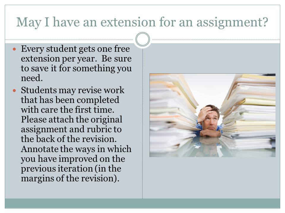 May I have an extension for an assignment. Every student gets one free extension per year.