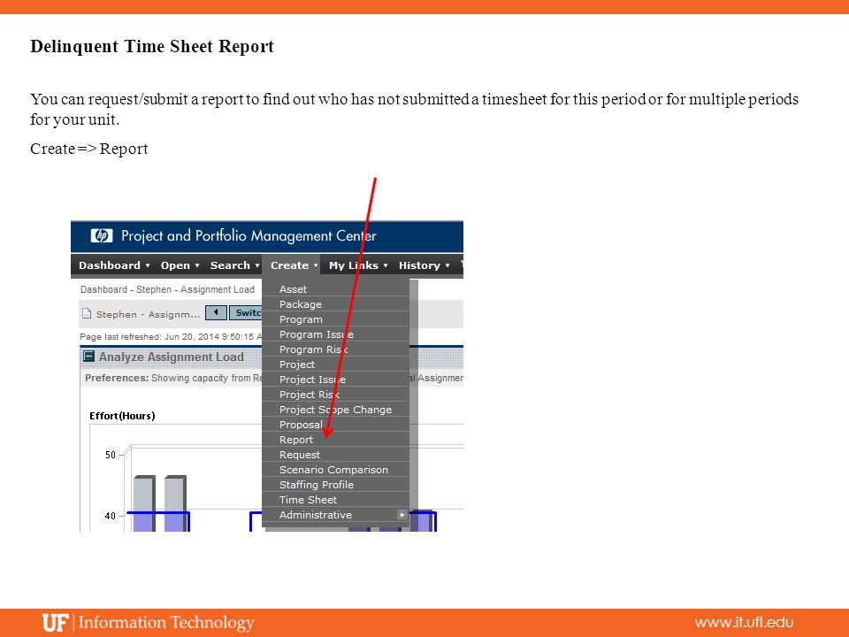 www.it.ufl.edu Delinquent Time Sheet Report You can request/submit a report to find out who has not submitted a timesheet for this period or for multiple periods for your unit.