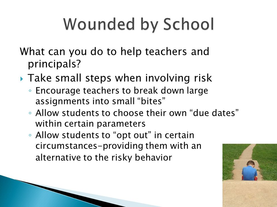 What can you do to help teachers and principals?  Take small steps when involving risk ◦ Encourage teachers to break down large assignments into smal