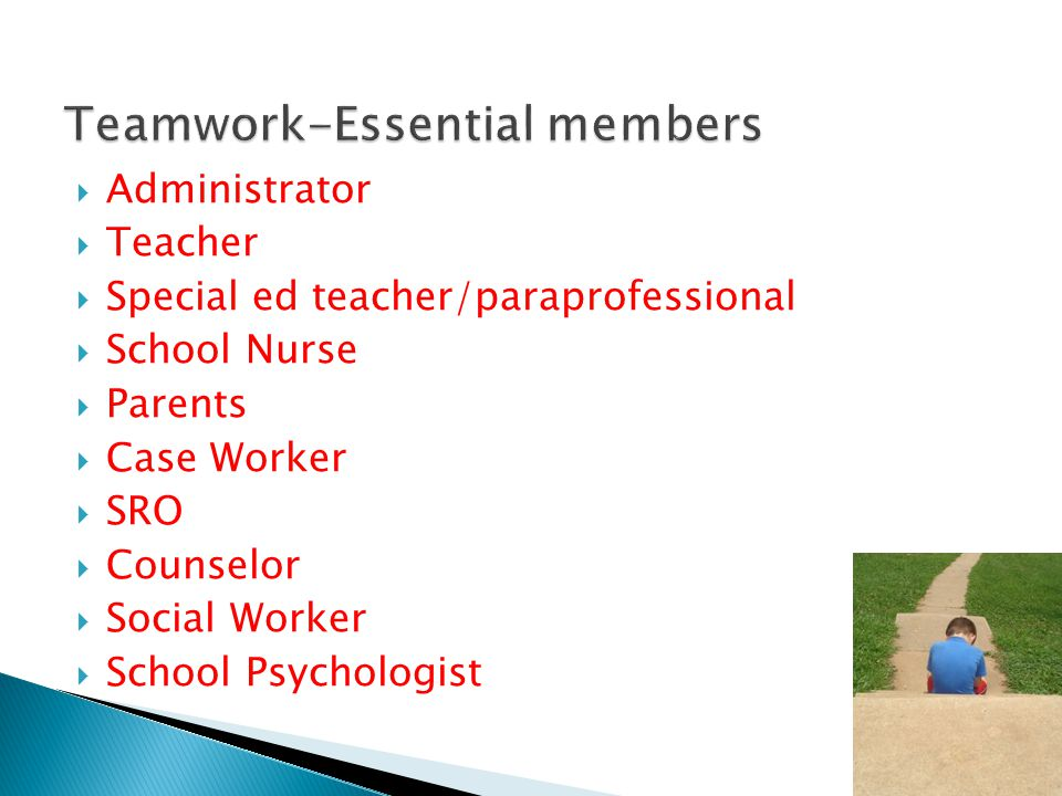  Administrator  Teacher  Special ed teacher/paraprofessional  School Nurse  Parents  Case Worker  SRO  Counselor  Social Worker  School Psyc