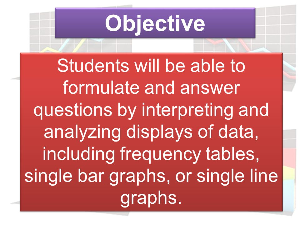 Objective Students will be able to collect, record, organize, and display data using frequency tables, single bar graphs, or single line graphs.