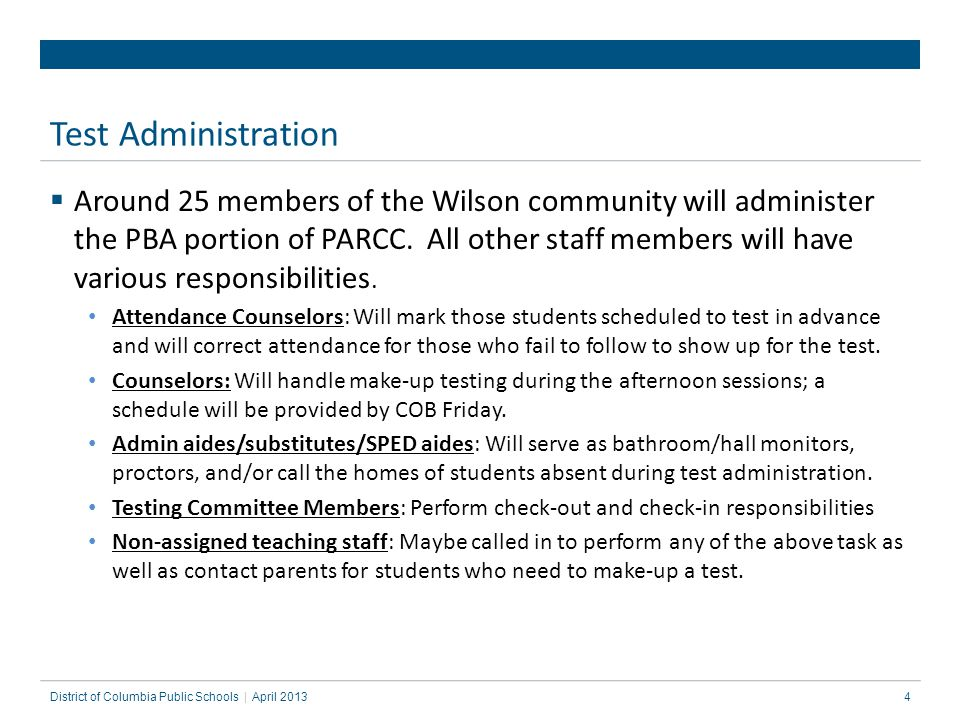25 PARCC Test Administration: Pearson Access Next PARCC: Test Coordinator's Training District of Columbia Public Schools | What is another scenario in which I would need to RESUME a student's test.