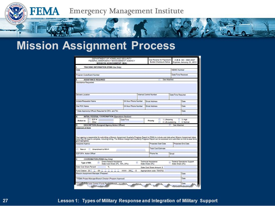 Mission Assignment Process Lesson 1: Types of Military Response and Integration of Military Support27