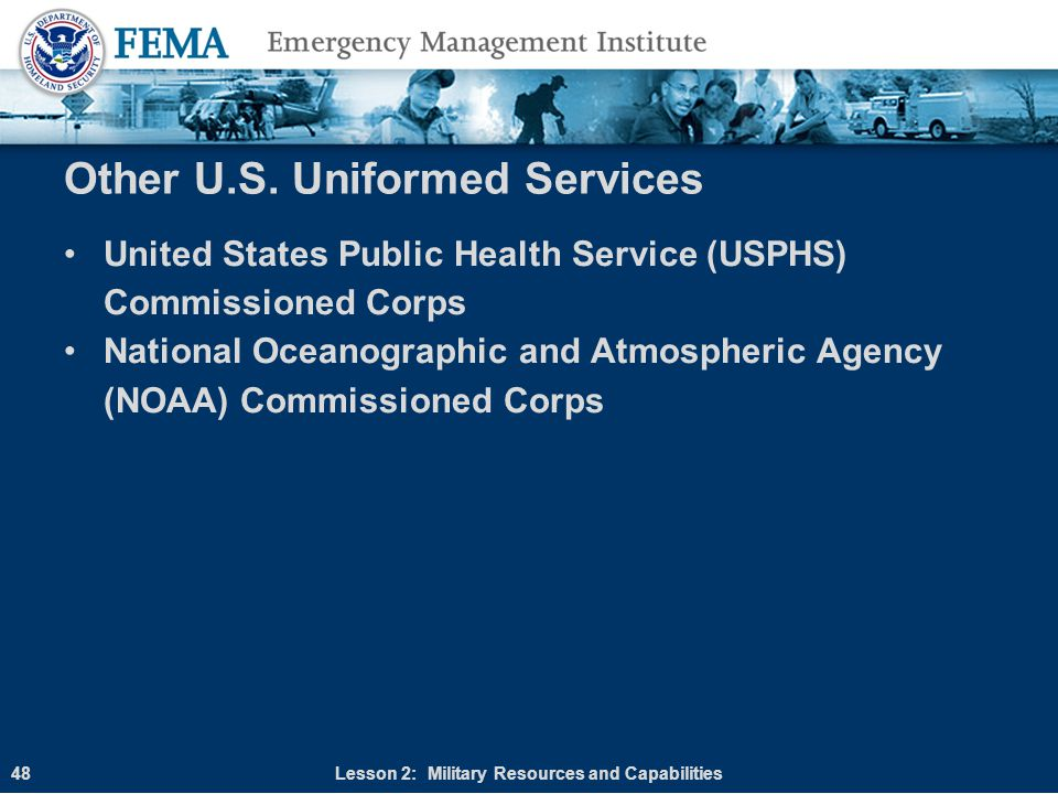 Other U.S. Uniformed Services United States Public Health Service (USPHS) Commissioned Corps National Oceanographic and Atmospheric Agency (NOAA) Comm