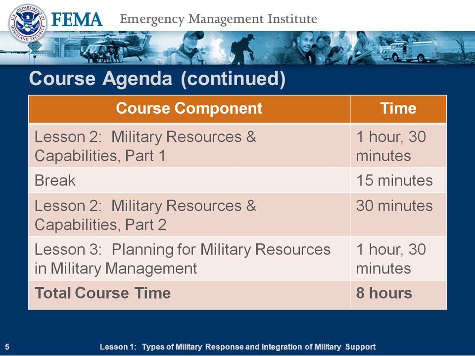 Types of Military Response Four main types of military response are available to states: Mutual Aid Assistance Agreements Immediate Response Authority (IRA) Deployment of state military resources (National Guard) Federal military forces disaster response Lesson 1: Types of Military Response and Integration of Military Support16