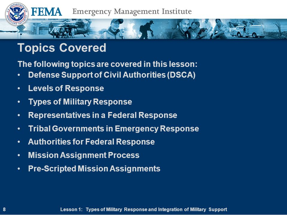 Course Summary Lesson 1: Types of Military Response and Integration of Military Support Lesson 2: Military Resources and Capabilities Lesson 3: Planning for Military Resources in Military Management 79