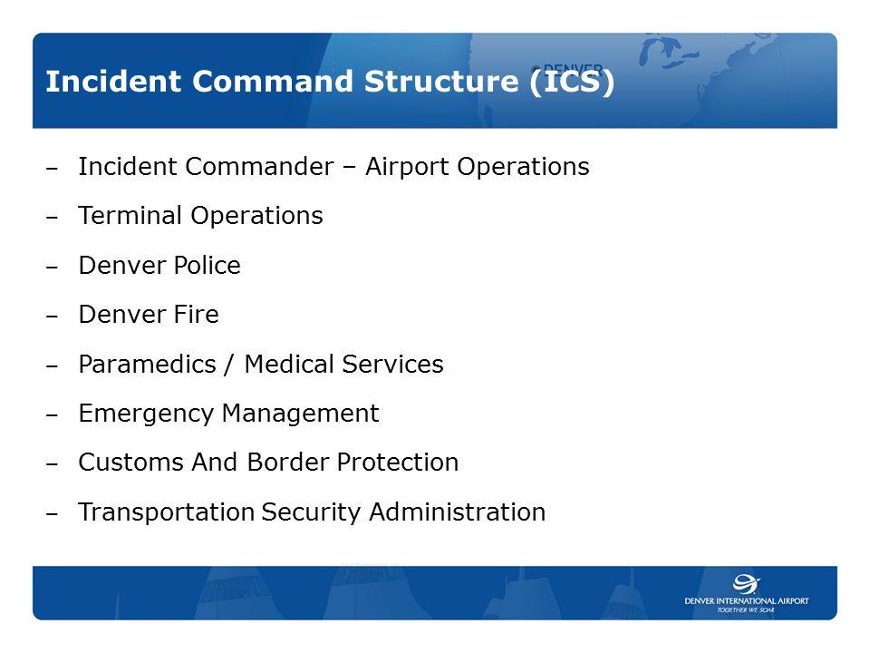 Incident Command Structure (ICS) ‒ Incident Commander – Airport Operations ‒ Terminal Operations ‒ Denver Police ‒ Denver Fire ‒ Paramedics / Medical