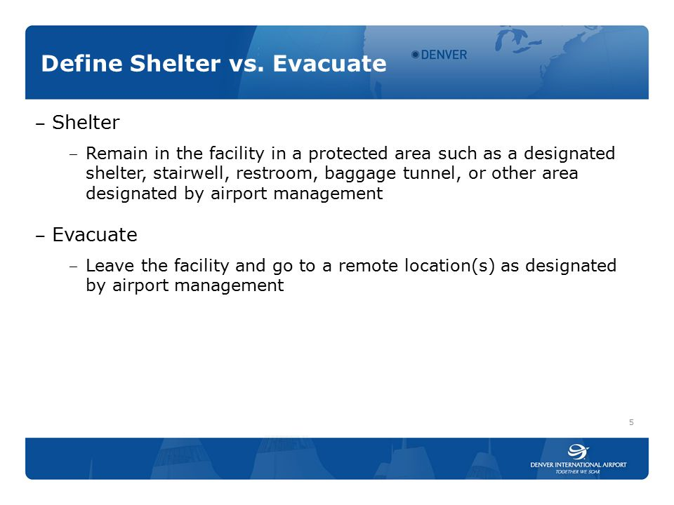 Define Shelter vs.