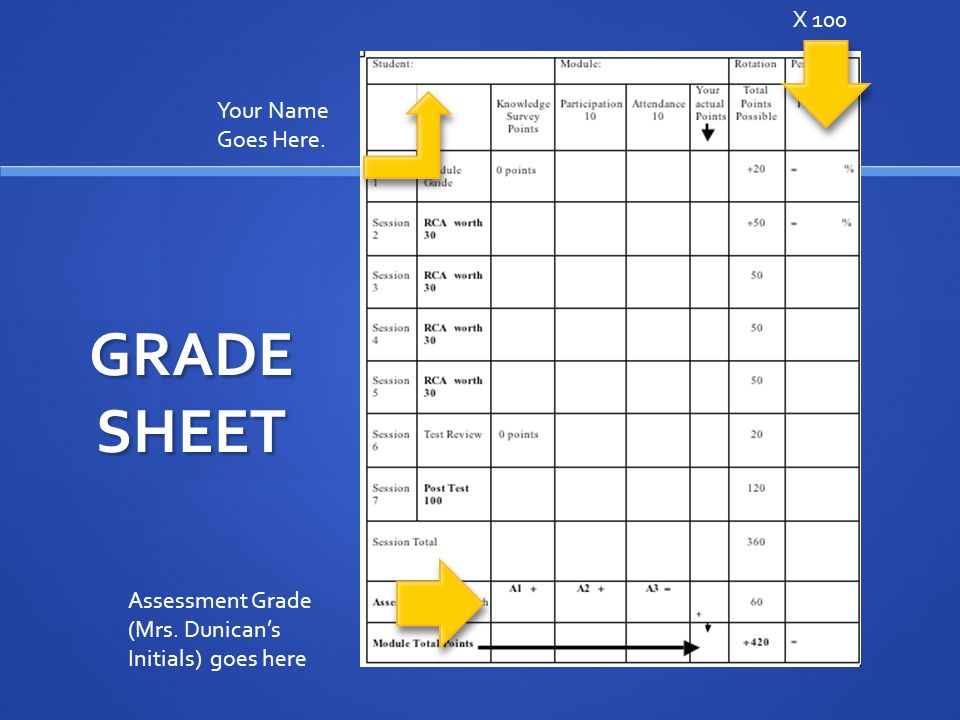GRADE SHEET Assessment Grade (Mrs. Dunican's Initials) goes here X 100 Your Name Goes Here.