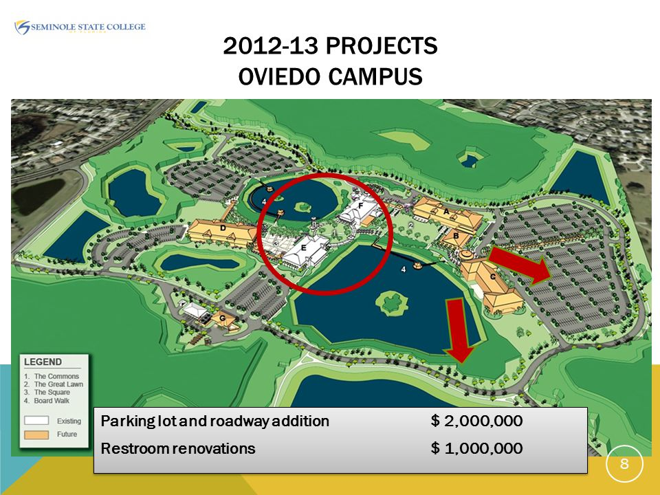 2012-13 PROJECTS OVIEDO CAMPUS Parking lot and roadway addition$ 2,000,000 Restroom renovations$ 1,000,000 Parking lot and roadway addition$ 2,000,000 Restroom renovations$ 1,000,000 8
