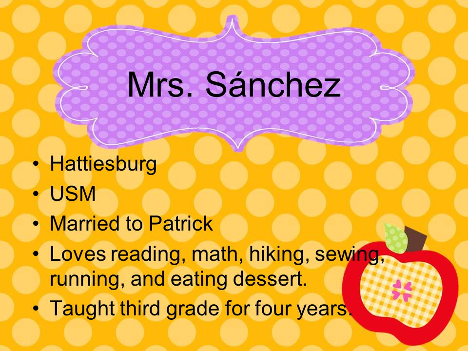 Hattiesburg USM Married to Patrick Loves reading, math, hiking, sewing, running, and eating dessert.