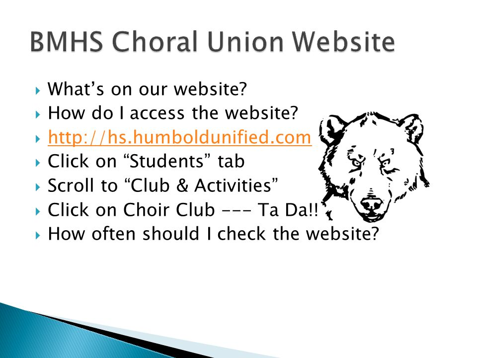  What's on our website.  How do I access the website.