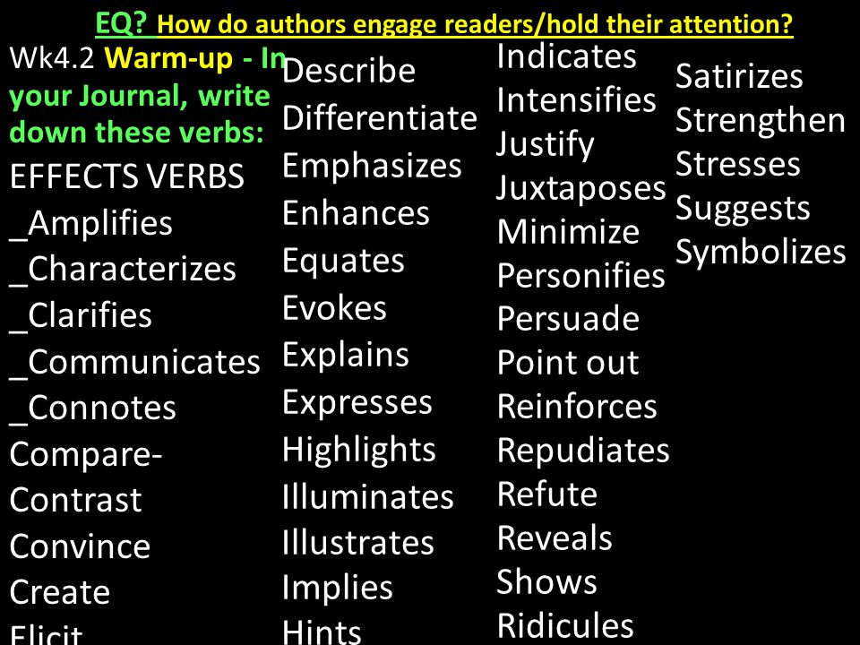 EQ. How do authors engage readers/hold their attention.