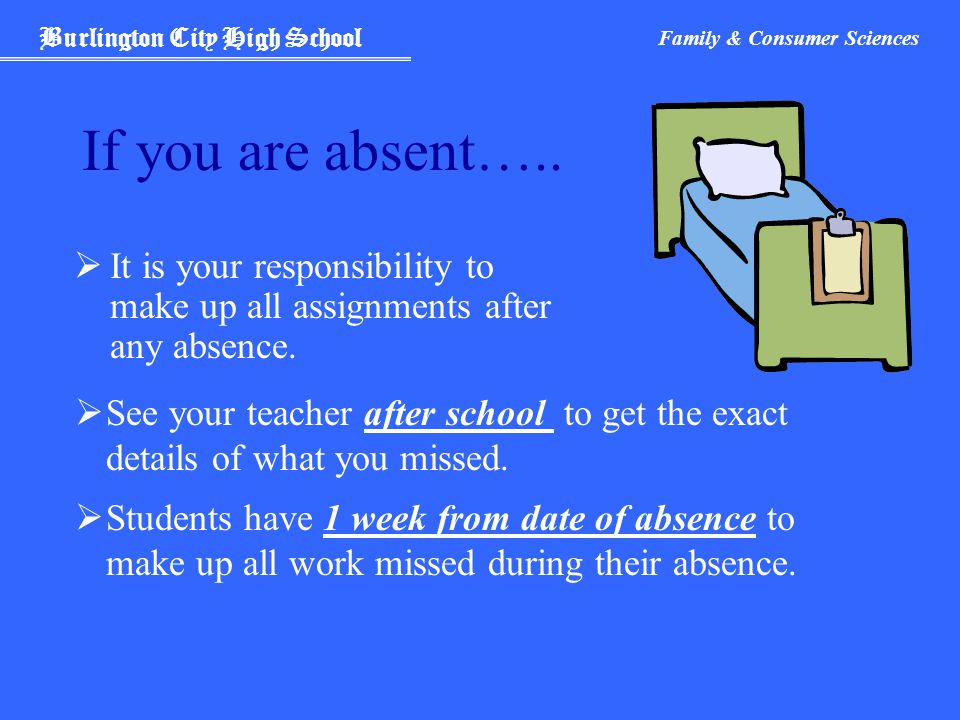 Burlington City High School Family & Consumer Sciences If you are absent…..