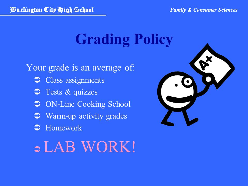 Burlington City High School Family & Consumer Sciences Grading Policy Your grade is an average of:  Class assignments  Tests & quizzes  ON-Line Cooking School  Warm-up activity grades  Homework  LAB WORK!