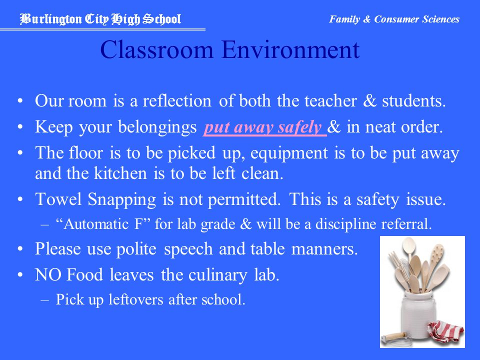 Burlington City High School Family & Consumer Sciences Classroom Environment Our room is a reflection of both the teacher & students.