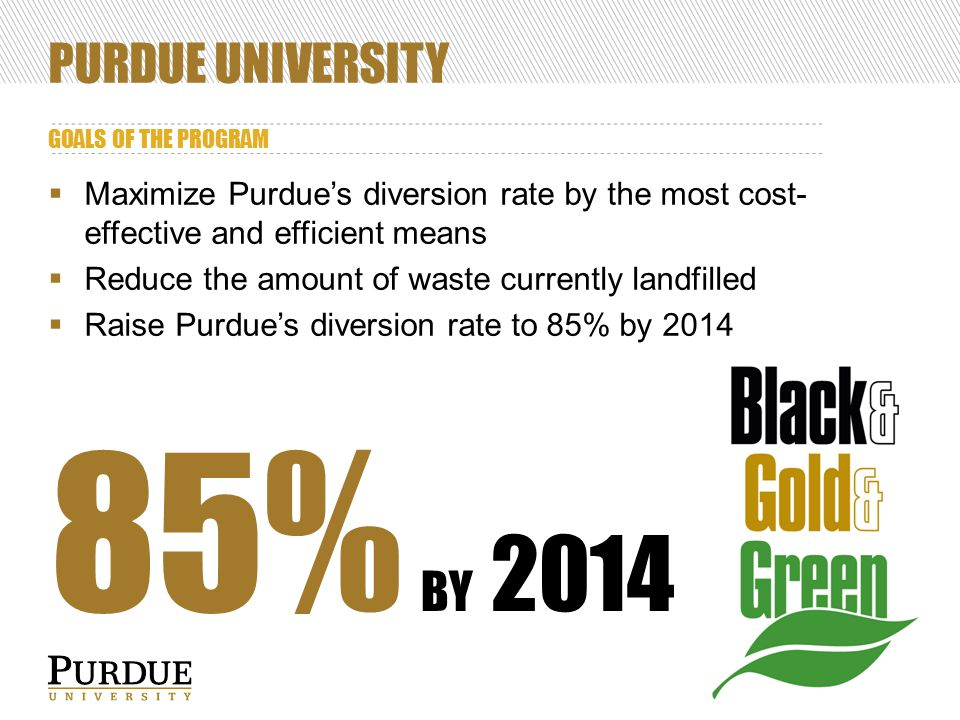 PURDUE UNIVERSITY GOALS OF THE PROGRAM  Maximize Purdue's diversion rate by the most cost- effective and efficient means  Reduce the amount of waste currently landfilled  Raise Purdue's diversion rate to 85% by 2014 85% BY 2014