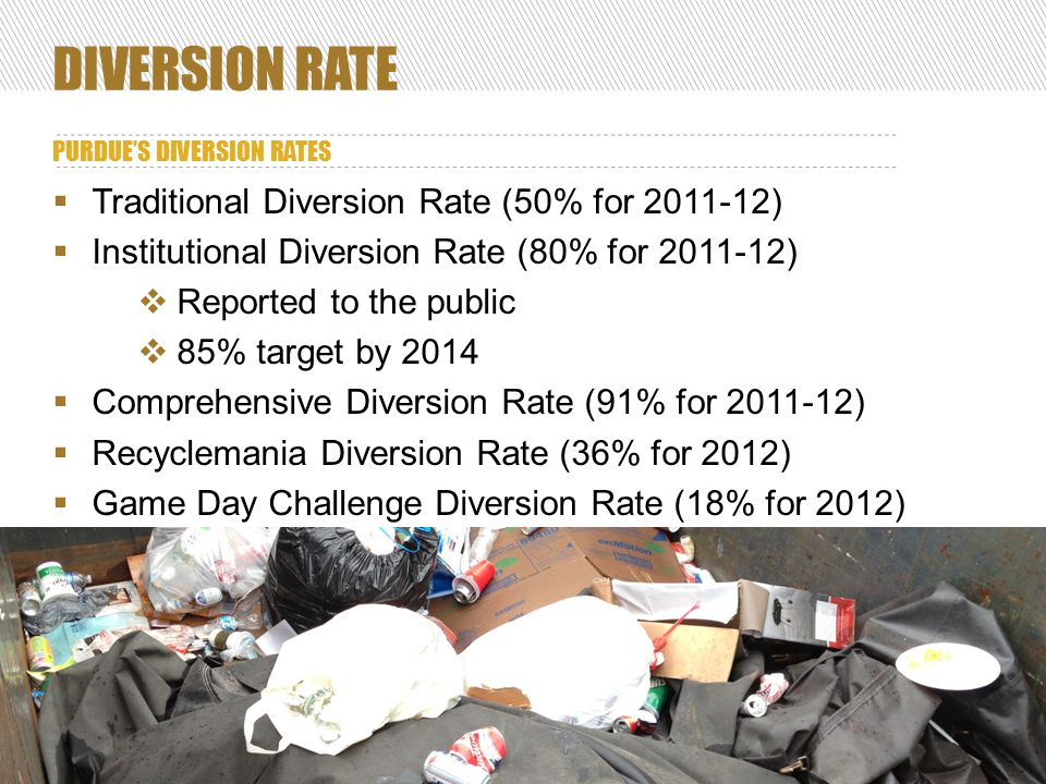 DIVERSION RATE PURDUE'S DIVERSION RATES 9  Traditional Diversion Rate (50% for 2011-12)  Institutional Diversion Rate (80% for 2011-12)  Reported to the public  85% target by 2014  Comprehensive Diversion Rate (91% for 2011-12)  Recyclemania Diversion Rate (36% for 2012)  Game Day Challenge Diversion Rate (18% for 2012)