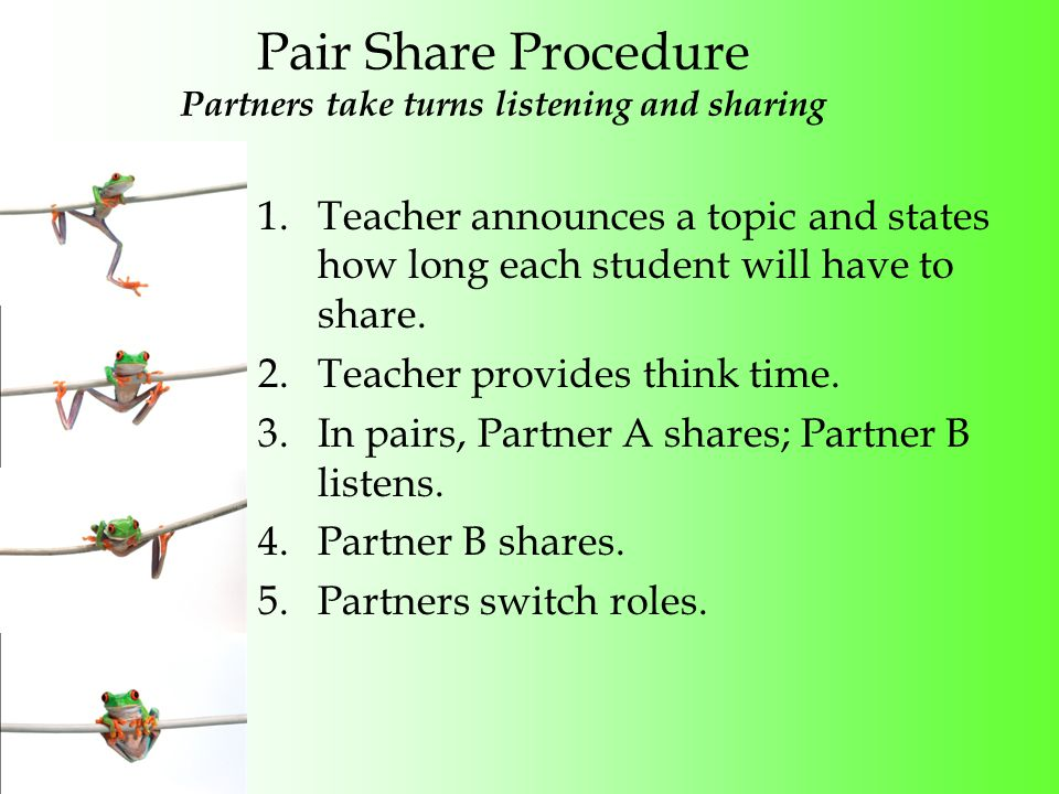 Pair Share Procedure Partners take turns listening and sharing 1.Teacher announces a topic and states how long each student will have to share.