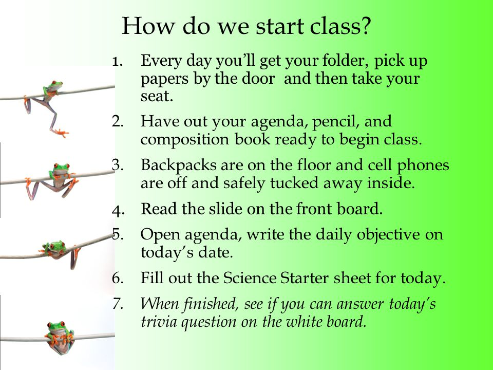 Every day I will… Begin my Science Starter within 90sec of coming into class.