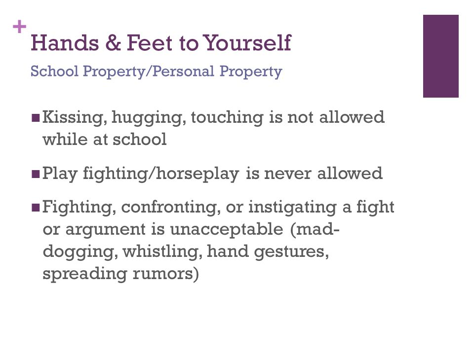 + Hands & Feet to Yourself Kissing, hugging, touching is not allowed while at school Play fighting/horseplay is never allowed Fighting, confronting, or instigating a fight or argument is unacceptable (mad- dogging, whistling, hand gestures, spreading rumors) School Property/Personal Property