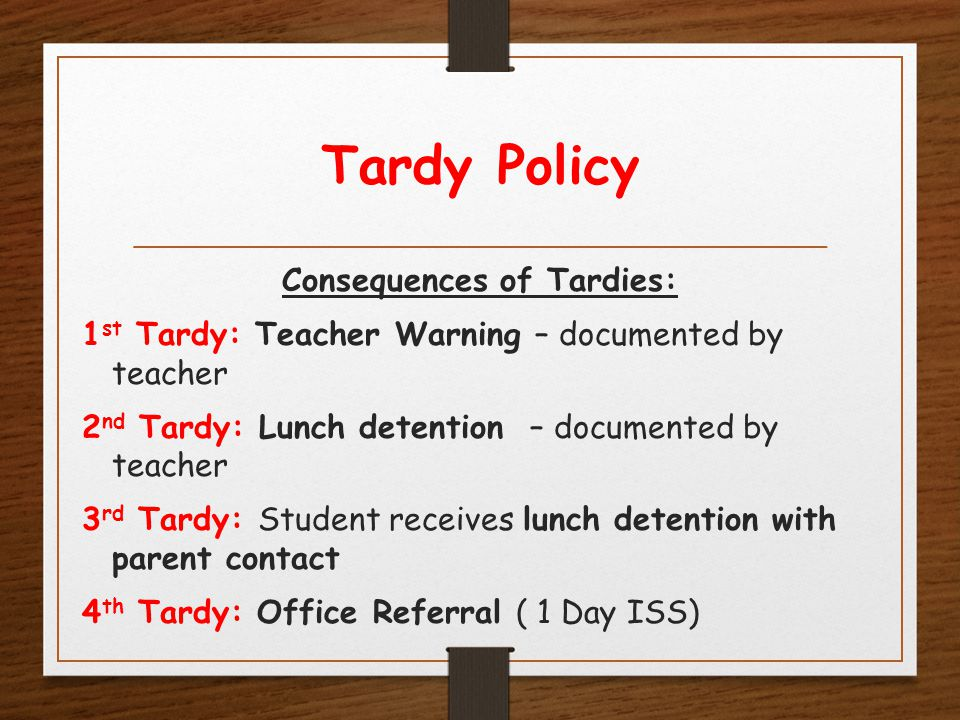 Tardy Policy Consequences of Tardies: 1 st Tardy: Teacher Warning – documented by teacher 2 nd Tardy: Lunch detention – documented by teacher 3 rd Tardy: Student receives lunch detention with parent contact 4 th Tardy: Office Referral ( 1 Day ISS)