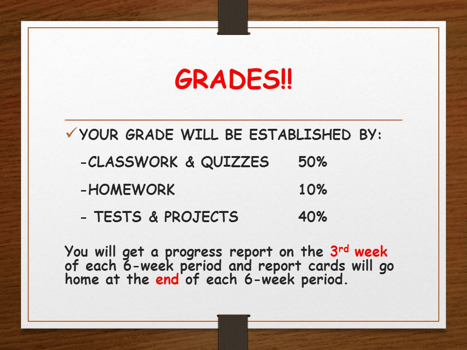 GRADES!! YOUR GRADE WILL BE ESTABLISHED BY: -CLASSWORK & QUIZZES50% -HOMEWORK10% - TESTS & PROJECTS40% You will get a progress report on the 3 rd week