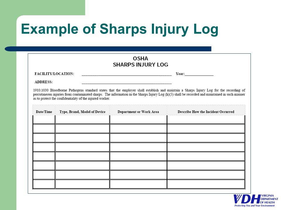 Example of Sharps Injury Log