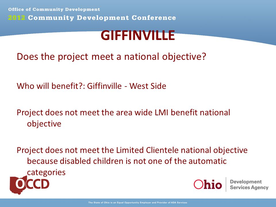 GIFFINVILLE Does the project meet a national objective.