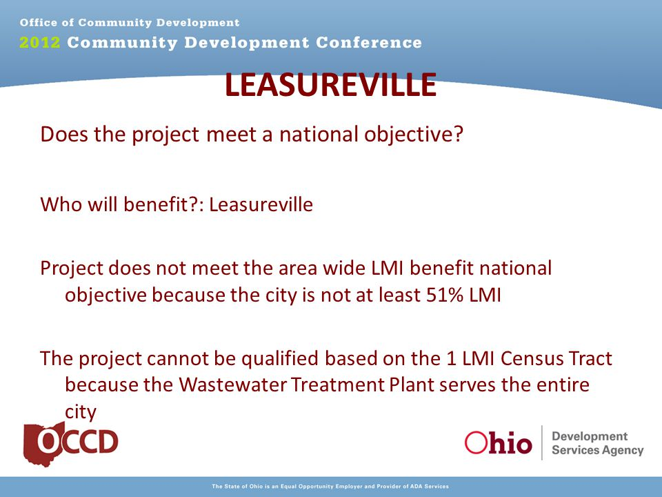 LEASUREVILLE Does the project meet a national objective.