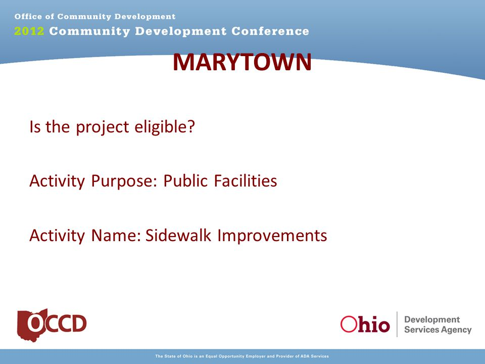 MARYTOWN Is the project eligible.