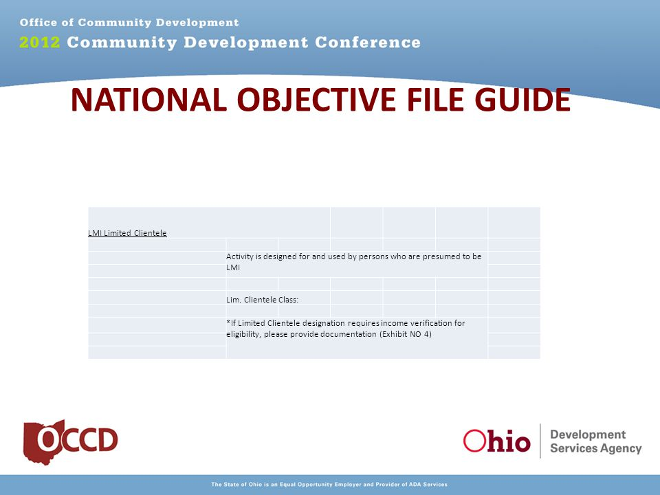 NATIONAL OBJECTIVE FILE GUIDE LMI Limited Clientele Activity is designed for and used by persons who are presumed to be LMI Lim.