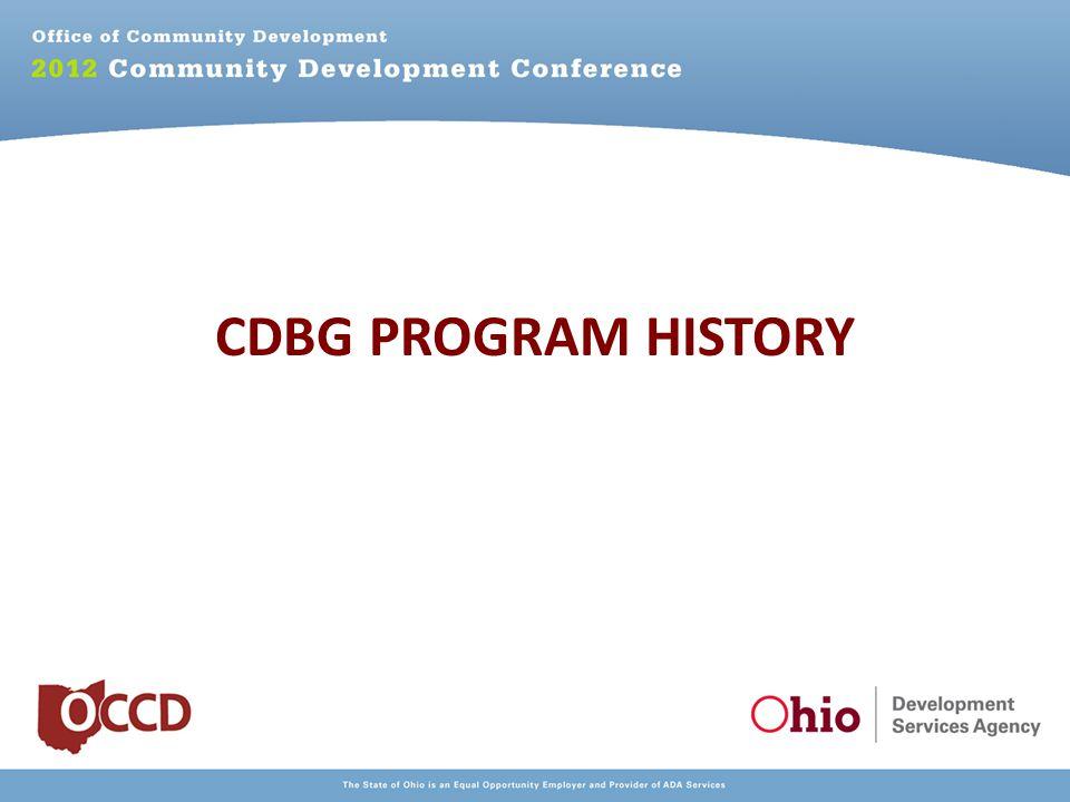 CDBG PROGRAM HISTORY