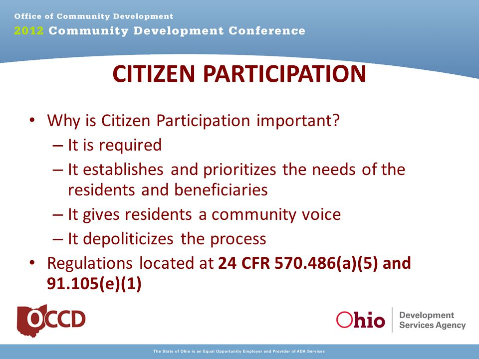 Why is Citizen Participation important.