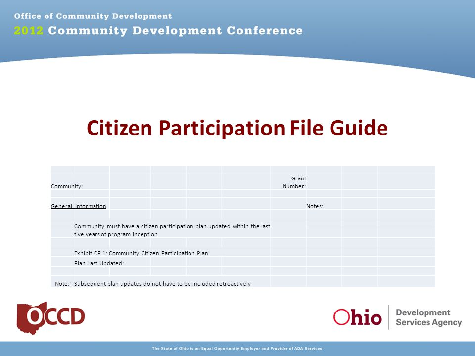 Citizen Participation File Guide Community: Grant Number: General Information Notes: Community must have a citizen participation plan updated within the last five years of program inception Exhibit CP 1: Community Citizen Participation Plan Plan Last Updated: Note:Subsequent plan updates do not have to be included retroactively