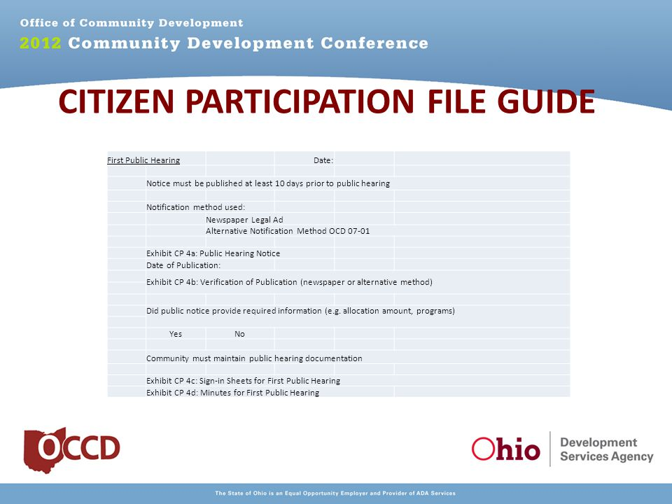 CITIZEN PARTICIPATION FILE GUIDE First Public Hearing Date: Notice must be published at least 10 days prior to public hearing Notification method used: Newspaper Legal Ad Alternative Notification Method OCD 07-01 Exhibit CP 4a: Public Hearing Notice Date of Publication: Exhibit CP 4b: Verification of Publication (newspaper or alternative method) Did public notice provide required information (e.g.