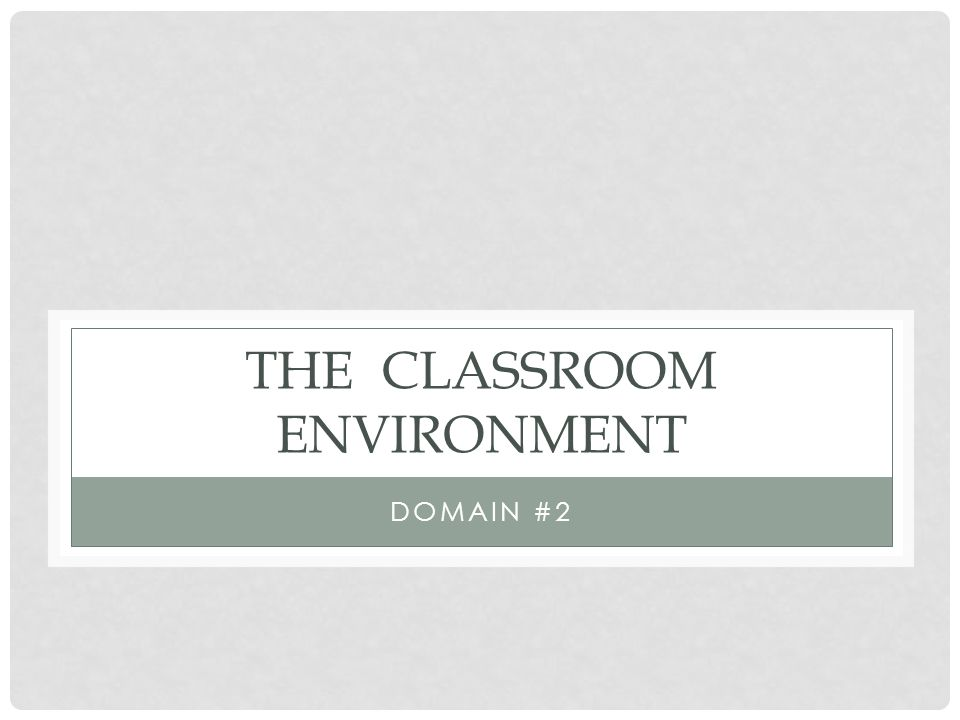 THE CLASSROOM ENVIRONMENT DOMAIN #2