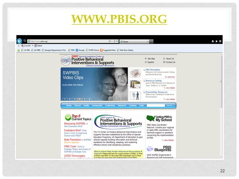 WWW.PBIS.ORG 22