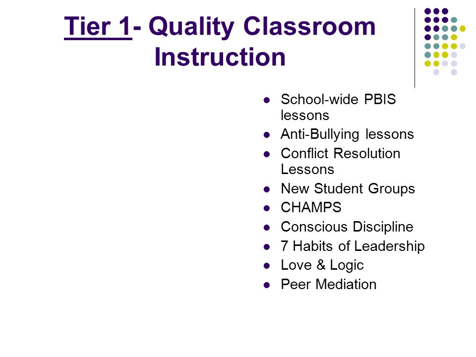 Tier 1- Quality Classroom Instruction School-wide PBIS lessons Anti-Bullying lessons Conflict Resolution Lessons New Student Groups CHAMPS Conscious D