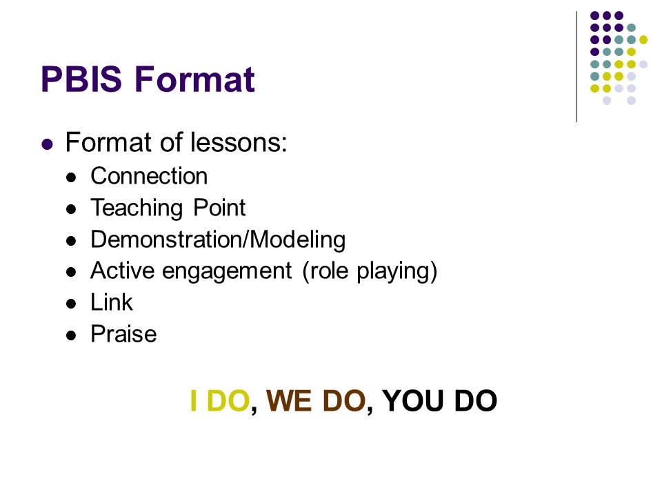 PBIS Format Format of lessons: Connection Teaching Point Demonstration/Modeling Active engagement (role playing) Link Praise I DO, WE DO, YOU DO